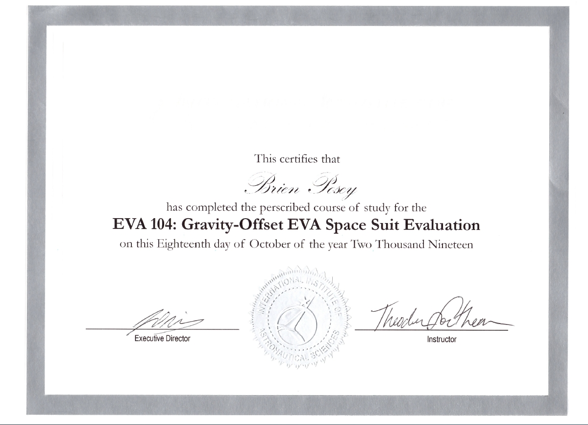 Gravity Offset EVA Spacesuit Evaluation